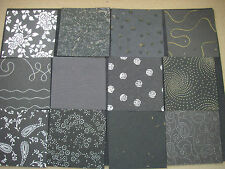 Job Lot CREATIVE Handmade Paper Pack 12 Sheets 6x6 NEW Black TEXTURED Lot2