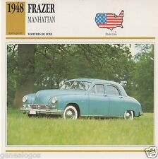 FICHE AUTOMOBILE GLACEE US USA CAR FRAZER MANHATTAN 1948