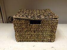 Seagrass Wicker Storage Organizer Bathroom Toys Lego Basket & Lid 10x12x8