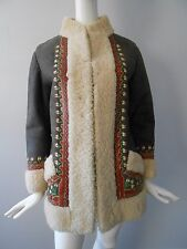 Vintage 60's 70's Afghan Embroidered Shearling Sheepskin Boho COAT SZ L  Poland