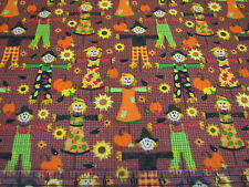 3 Yards Quilt Cotton Fabric - AE Nathan Autumn Harvest Thanksgiving Scarecrows