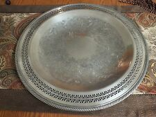 "Vtg 15"" Silver Plated WM Rogers #126 Reticulated Platter ~Bowl w/ Gadrooned Trim"