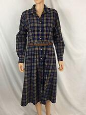 Vintage LL Bean Size 8 P Scotch Plaid Cotton Shirt Dress Weaved Leather Belt