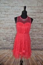 Modcloth Strawberry Salsa Dress NWT Sz S Red strawberry lace  shift/belted