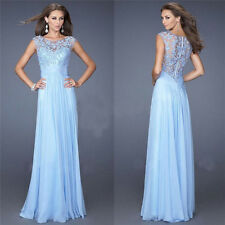 Blue Womens Lace Dress Cocktail Evening Party Prom Gown Bridesmaid Maxi Dress S