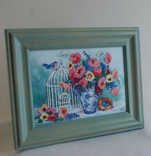 Printed Design & Hand Embroidered Framed Picture Bird House Nest Flowers Signed
