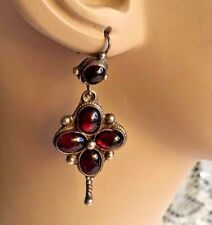 Vintage Genuine Burgundy Garnet Cabochon Gemstone Sterling Silver 925 Earrings
