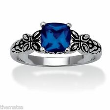 SEPTEMBER SAPPHIRE STONE ANTIQUED BUTTERFLY SCROLL STERLING SILVER RING 5 6 7