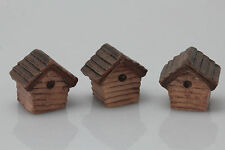 3 Miniature Log Cabin Bird Houses For Crafts.