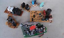 9U77 ASSORTED CIRCUIT BOARD PIECES, FOR PARTS: CAPACITORS, RELAYS, DIODES, ETC