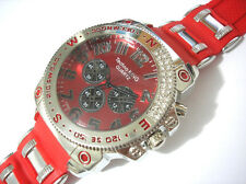 Techno King Bling Bling Rubber Band 7 Color Light Men's Watch Silver / Red