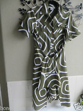 Diane Von Furstenberg Green  /White Cotton Wrap Dress size 6 .  $255+
