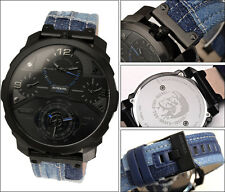 BRAND NEW DIESEL DZ7381 MACHINUS PATCHED BLUE DENIM BLACK STEEL CASE MEN'S WATCH