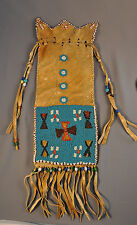OLD EARLY BEADED PIPE BAG - PLATEAU INDIAN - BLACKFOOT ? -  CROSS PATTERN