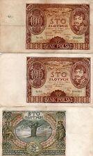 1 Pair (2 Bills) VG-F 100 Zlotych Zloty 9 Nov 1934 Banknotes Poland