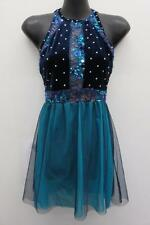 Dance Costume Small Adult Blue Rhinestone Dress Lyrical Ballet Solo Competition