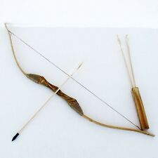 Kids Wood Bow and Arrow With  Quiver Set 3 ARROWS Good For Archery Brand New Toy