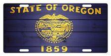 OREGON State Flag  Custom License Plate State Emblem WOOD Version