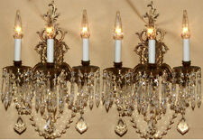 2 Vintage brass Bronze Crystal prism lamp Sconces ROCOCO French lighting Spain