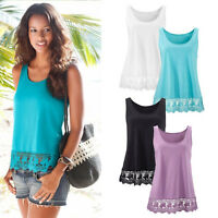 Sexy Women Ladies Summer Vest Top Sleeveless Blouse Lace Loose Tank Tops T-Shirt
