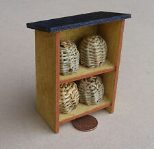 1:12 Scale 4 Wicker Bee Hive In A Wooden Stand Dolls House Miniature Accessory