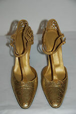 BOTTEGA VENETA GOLD CRACKLED W/METALLIC GOLD LEATHE WOVEN CAGE BACK PUMP SZ 39.5