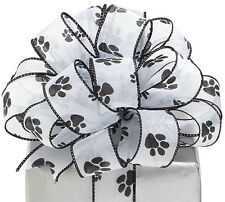"""Adorable Black Paw Print 1-1/2""""W x 5YDS Iridescent White Sheer Wired Edge Ribbon"""
