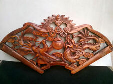 HAND WORK OLD EFFECT XIANG ZHANG SCULPTOR WOOD CARVED DRAGON WALL PANEL NR