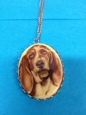 """Basset Hound Oval Pendant In Silvertone Frame With 18"""" Chain"""