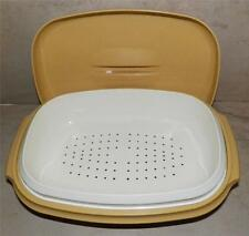 Tupperware #1274-2 Micro-Steamer 3pc. Meals-in-Minutes Mustard/Yellow/Almond