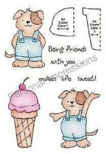 "Stampers Anonymous 4"" x 5.25"" Clear Stamps ICE CREAM PUP HONEYPOP 11049MC"