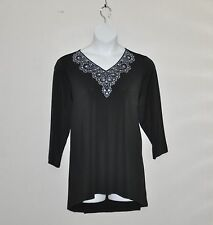 Bob Mackie Embroidered & Jeweled V-Neck Pullover Top Size S Black