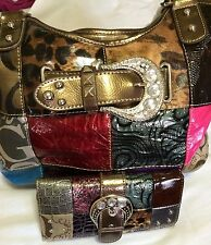 G Style Shoulder Fashion Handbag  Signature Multi-Color with Matching Wallet