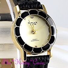 Omax Ladies Seiko Movt Cut Glass Mineral Slim Gld Plt Leather Swiss Watch 8N8056