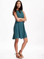 Old Navy Green Print High Neck Swing Dress Size Petite XS - NWT #134293