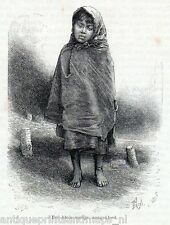 Antique print little girl Cape Horn Tierra del Fuego Strait of Magellan 1886