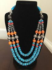 Nepalese Handmade Brass Natural Coral Stone  Chain Necklace