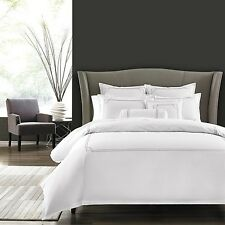 Hudson Park Dot Frame Duvet Cover KING  White / Pewter Grey Embroidery $380