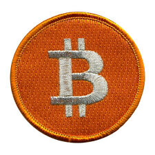 Bitcoin BTC 100% Embroidered Patch/Badge, Merrow Border + Metallic Thread - L