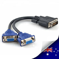 DVI-I 24+5 Pins Male to 2 Dual VGA Female Monitor Adapter Splitter Cable - NEW