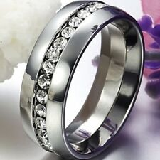 Size 5-15 8MM Stainless Steel Ring Band CZ Inlay Men Women Bridal Halo Wedding
