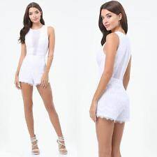 BEBE WHITE DEEP V LACE MESH INSET ROMPER NEW NWT $129 SMALL S