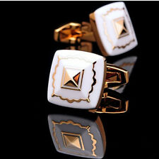 Top Gold white Mens Wedding Party shirt suits cufflinks cuff links