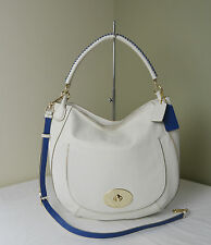 Coach 35409 Chalk Denim Whiplash Circle Hobo Shoulder Bag