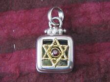 Star Of David Square Locket Sterling Silver and 14K Gold Black Onyx by Michael B