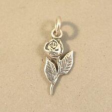 .925 Sterling Silver SINGLE STEMMED ROSE Charm NEW Pendant Flower 925 GA81