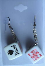 POKER DICE EARRINGS.. DICE 16mm,  STAINLESS STEEL WIRE