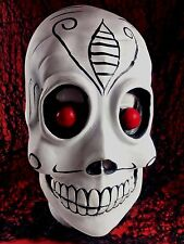 RARE Freaky Scary Tattoo Skull Skeleton Rubber Mask Red Eyes Adult Sz Halloween