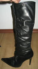 BUFFALO LONDON Black Leather Heel Zip Boots UK 8 US 10 EUR 41 42