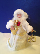 Victorian Old World Style Santa Claus Christmas Tree Topper St. Nicholas White